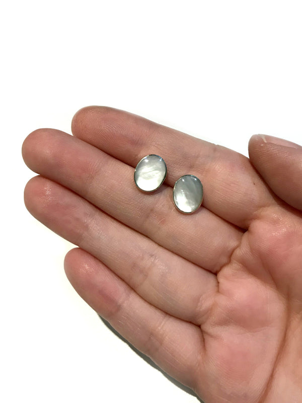 Large Oval Shell Posts | Mother of Pearl | Sterling Silver Stud Earrings | Light Years