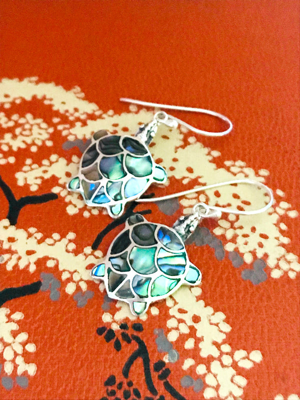 Abalone Turtle Dangles | Sterling Silver Earrings | Light Years Jewelry
