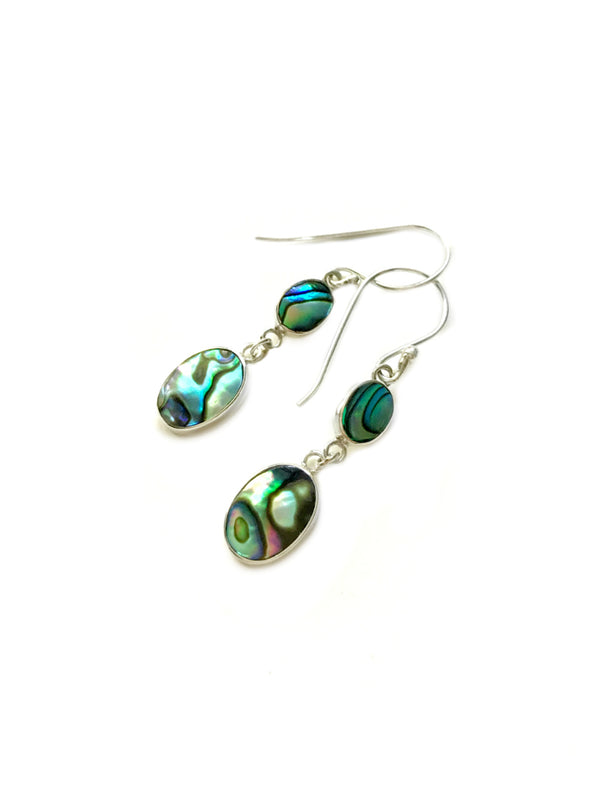 Double Abalone Drop Dangles | Sterling Silver Earrings | Light Years