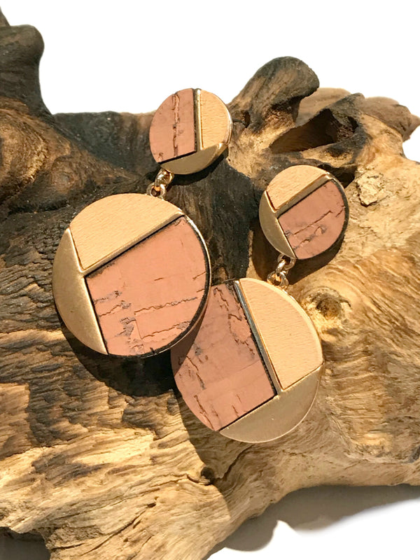 Geometric Cork & Gold Statement Posts Earrings | Light Years Jewelry