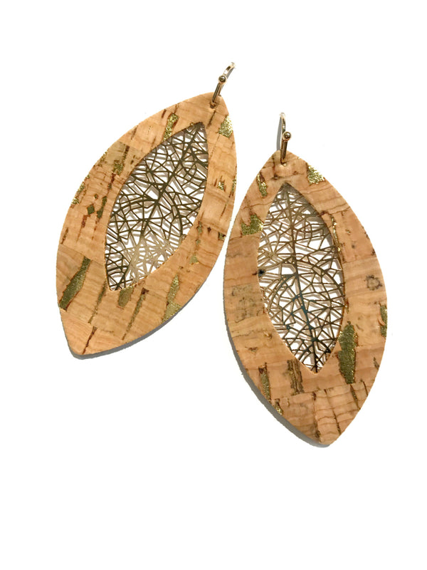 Filigree & Cork Statement Earrings | Gold Dangles | Light Years Jewelry