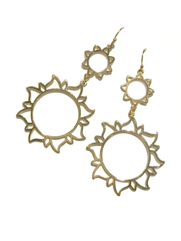 Double Sun Statement Earrings