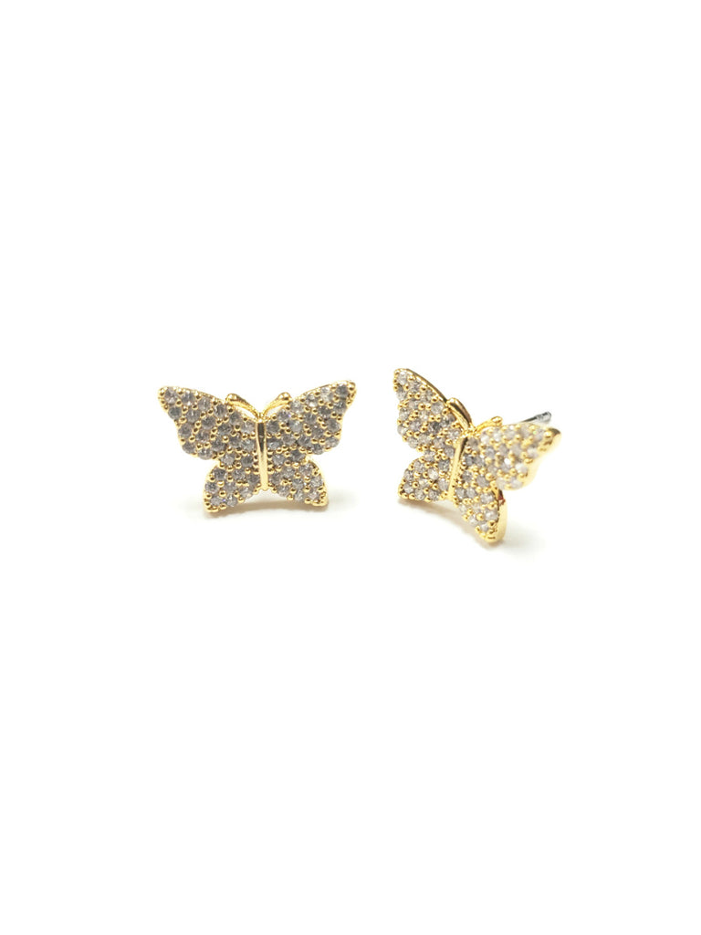 Pave CZ Butterfly Posts | Gold Plated Studs Earrings | Light Years