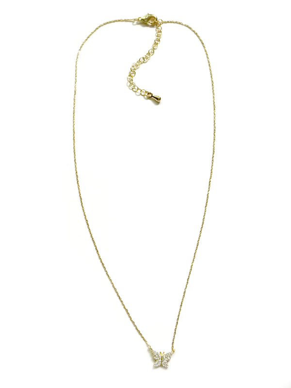 Pave CZ Butterfly Necklace | Gold Plated Chain | Light Years Jewelry