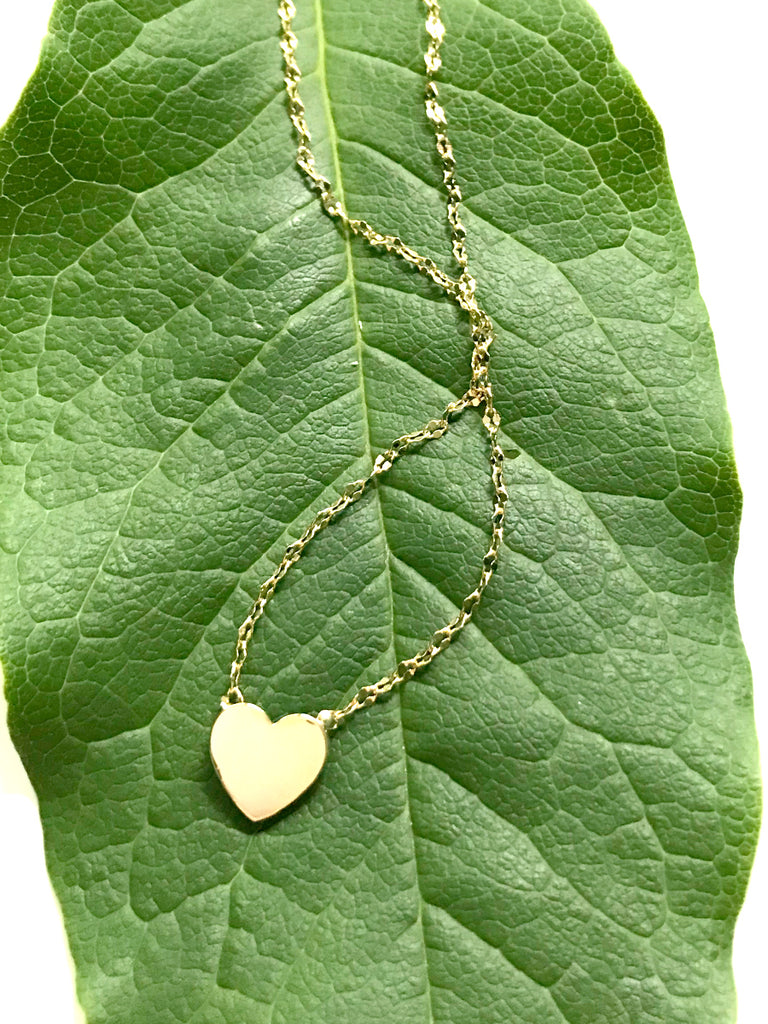"Flat Gold Heart Necklace | Gold Plated Chain Charm 16"" 18"" 
