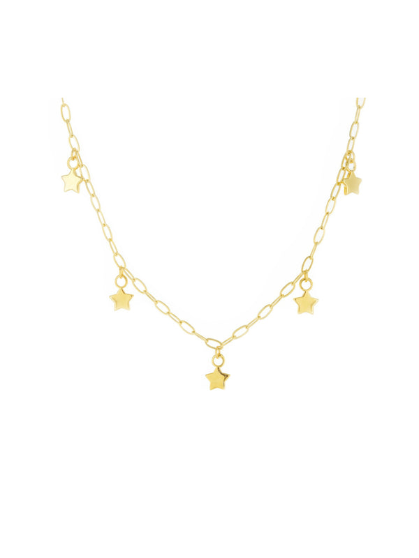 Five Stars Charm Necklaces | Gold Silver Plated Chains | Light Years