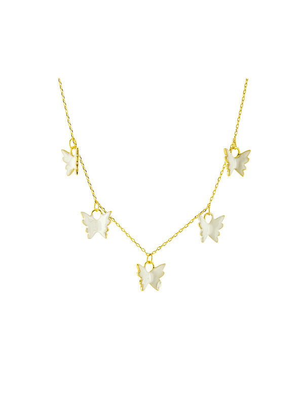 White Enamel Butterfly Charm Necklace | Gold Plated Chain | Light Years