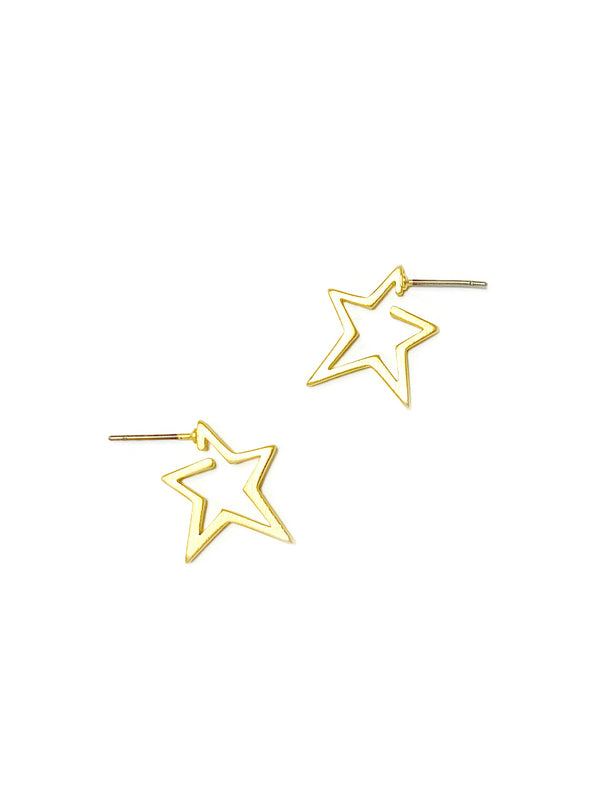 Small Star Hoops | Matte Gold Plated Earrings | Light Years Jewelry