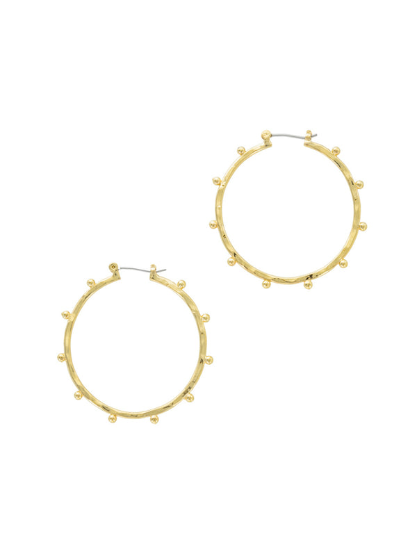 Ball Lined Hoops | Gold Plated Pincatch Earrings | Light Years Jewelry