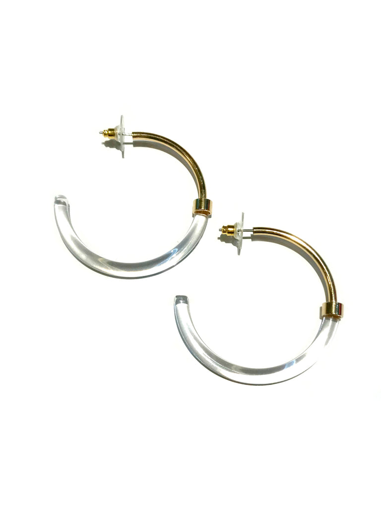 Acrylic & Gold Posts Hoops | Tortoiseshell Clear Earrings | Light Years