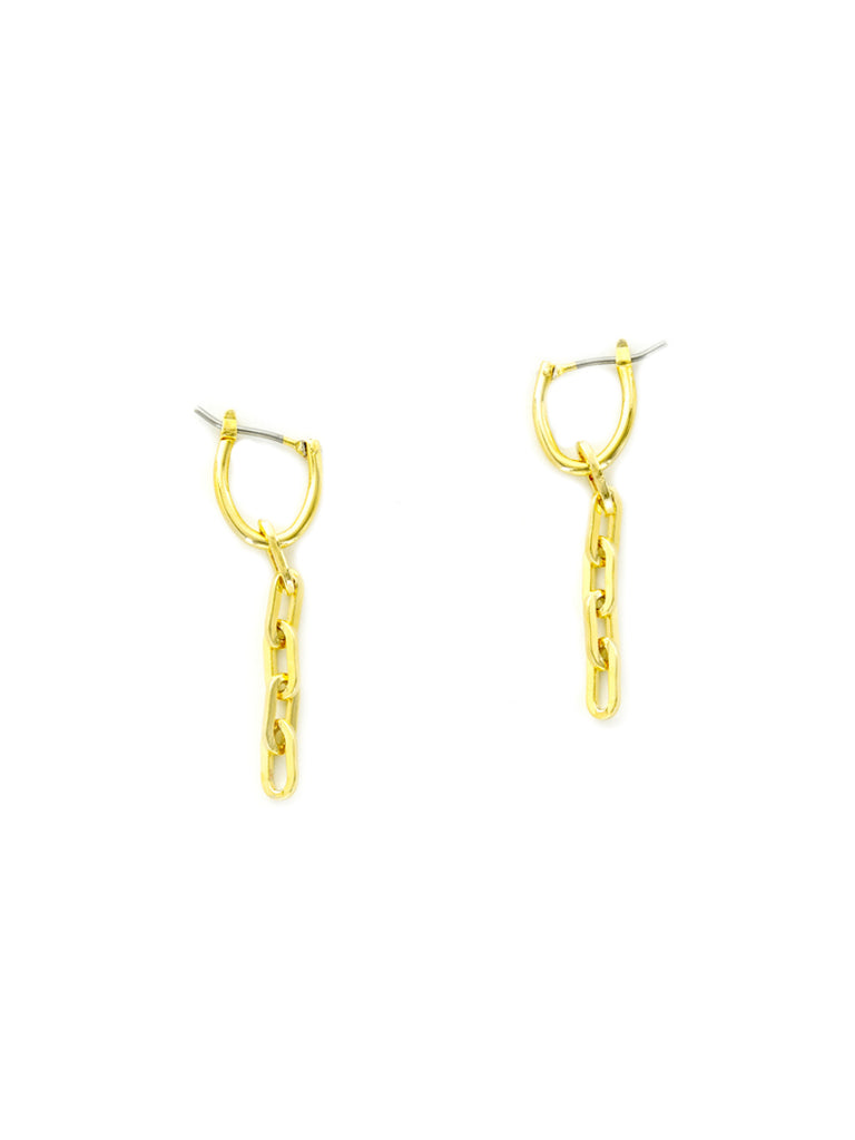 Chain Link Hoops | Pincatch Gold Plated Earrings | Light Years Jewelry