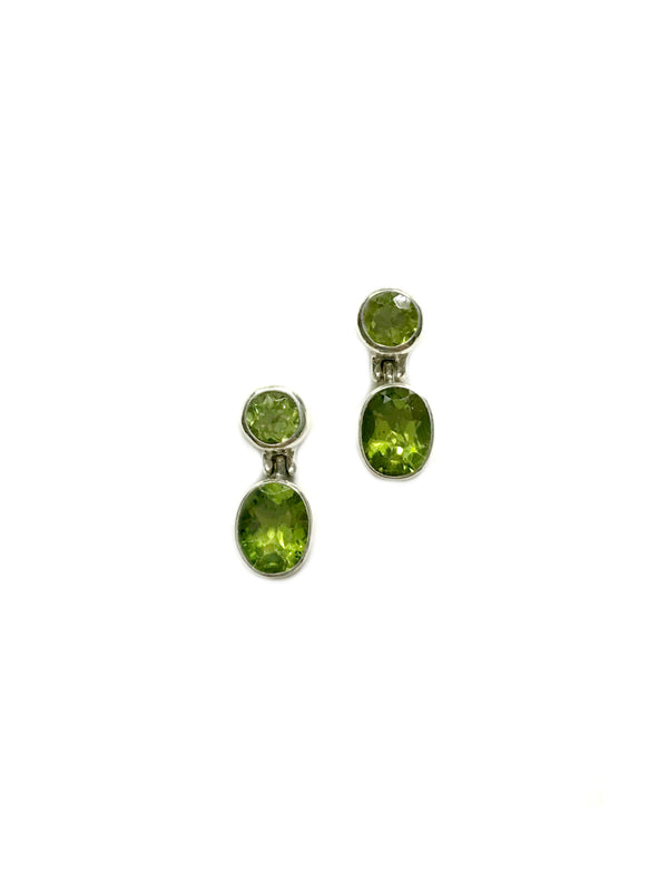 Double Gemstone Posts | Peridot Sterling Silver Studs Earrings | Light Years