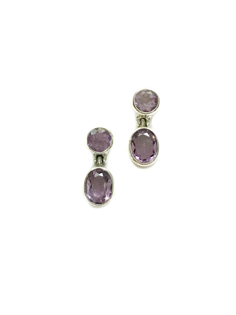 Double Gemstone Posts | Amethyst Sterling Silver Studs Earrings | Light Years