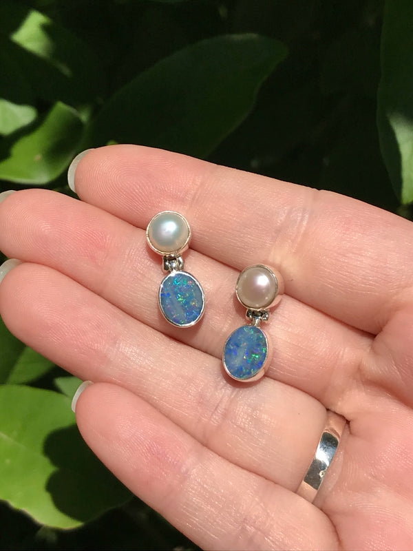 Double Gemstone Posts | Pearl Opal Sterling Silver Studs Earrings | Light Years