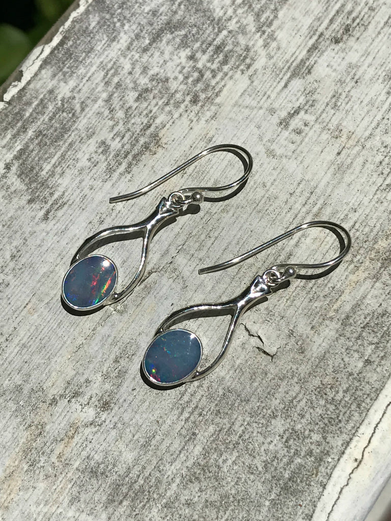 Opal Triplet Dangles | Sterling Silver Earrings | Light Years Jewelry