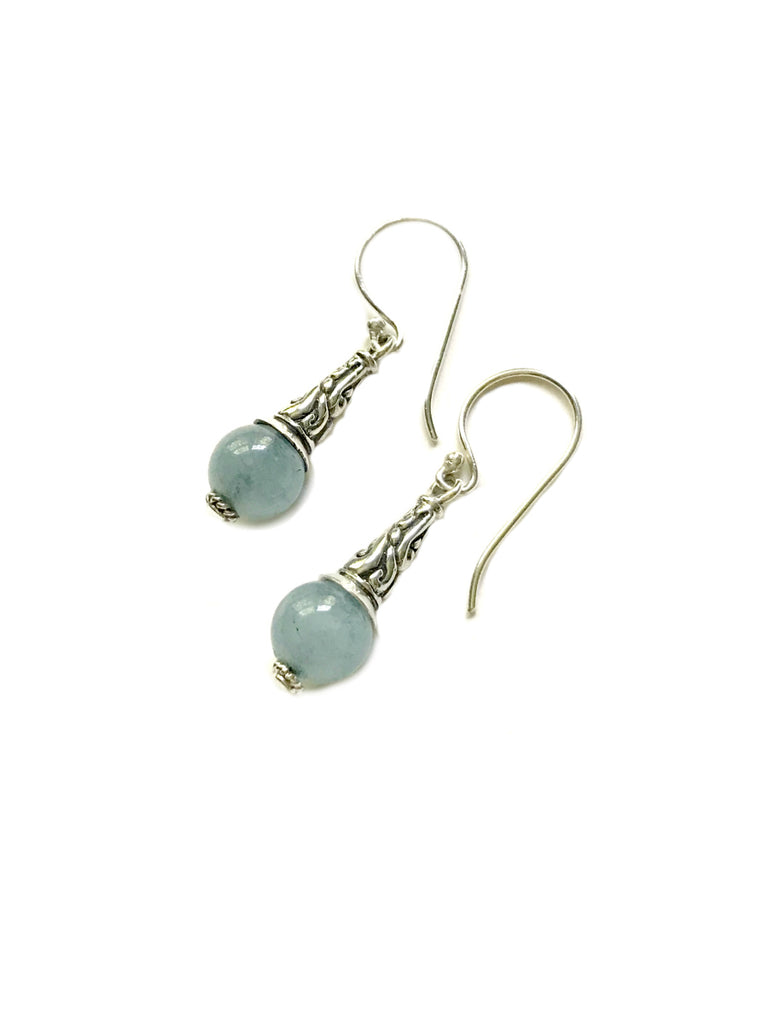 Aquamarine Ball Dangles | Sterling Silver Bali Earrings | Light Years
