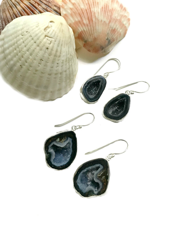 Druzy Geode Dangles | Bali Stone Sterling Silver Earrings | Light Years