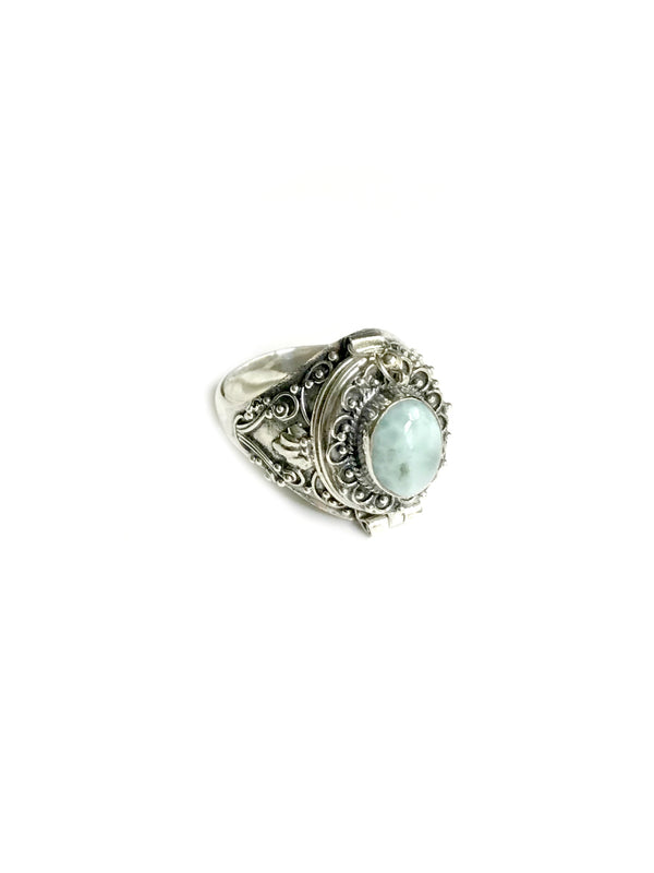 Round Gemstone Poison Ring | Larimar 7 Sterling Silver | Light Years