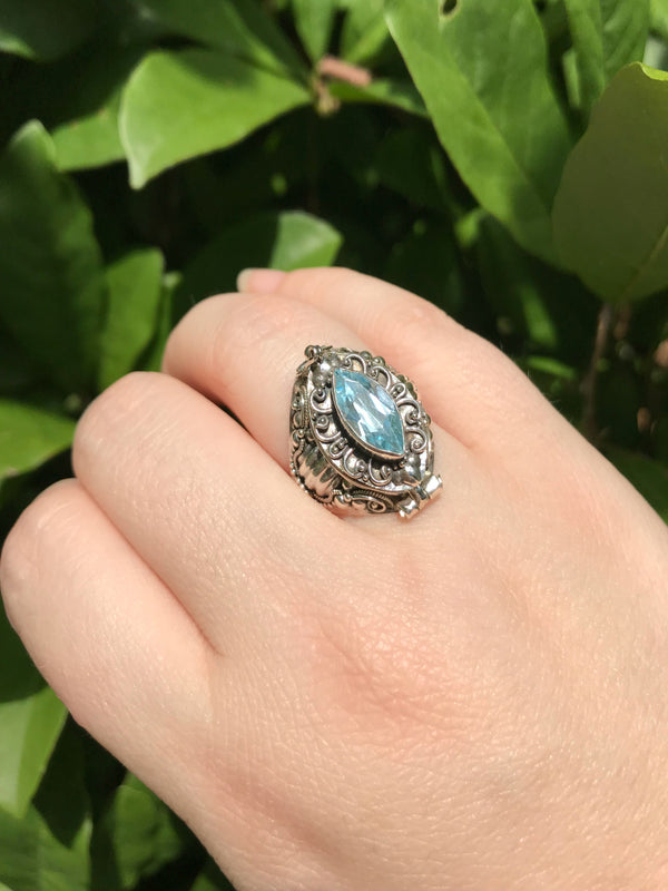 Marquis Gemstone Poison Ring | Amethyst Blue Topaz Size 7 8 | Light Years