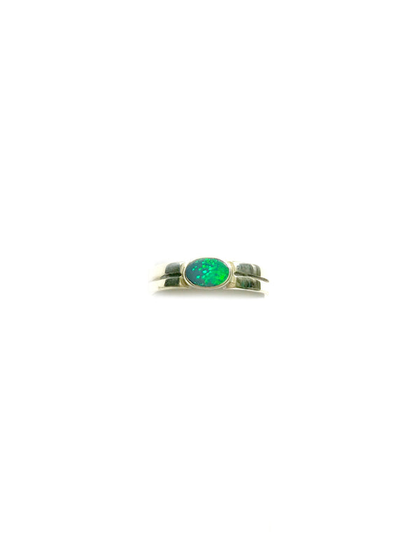 Opal Oval Ring | Sterling Silver Band Size 6 7 | Light Years Jewelry