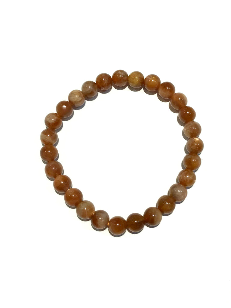 Polished Stone Stretch Bracelets | Sunstone Gemstone Beads | Light Years