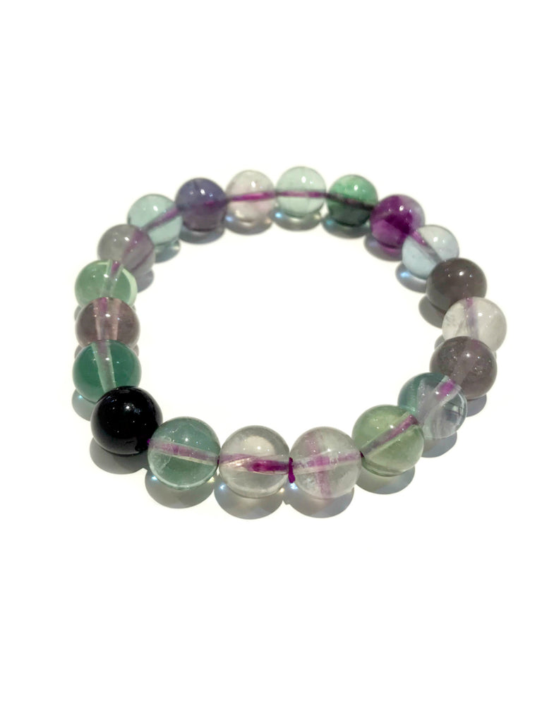 Polished Stone Stretch Bracelets | Flourite Gemstone Beads | Light Years