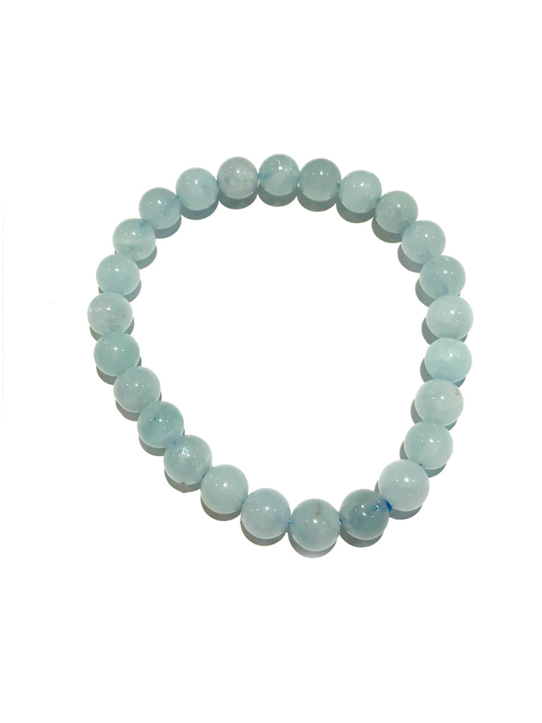 Polished Stone Stretch Bracelets | Aquamarine Gemstone Beads | Light Years