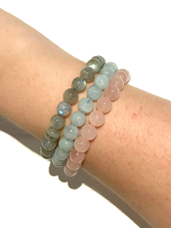 Polished Stone Stretch Bracelets | Labradorite Gemstone Beads | Light Years