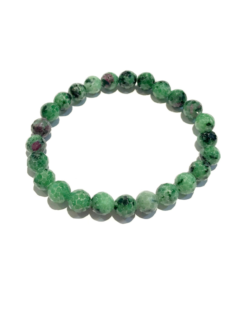 Faceted Gemstone Stretch Bracelets | Ruby Zoisite Beads | Light Years Jewelry