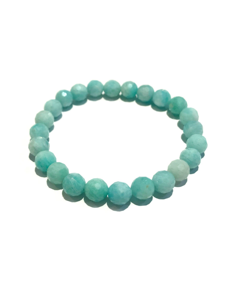 Faceted Gemstone Stretch Bracelets | Amazonite Beads | Light Years Jewelry