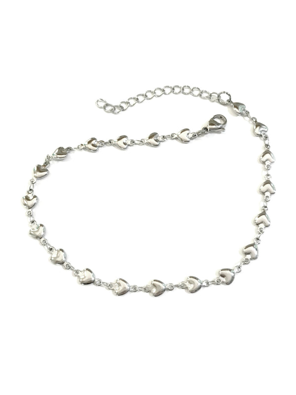 Shiny Puffed Hearts Anklet | Stainless Steel Accessories | Light Years