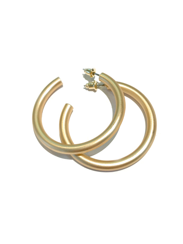 Thick Matte Tube Hoops | Gold Fashion Earrings | Light Years Jewelry