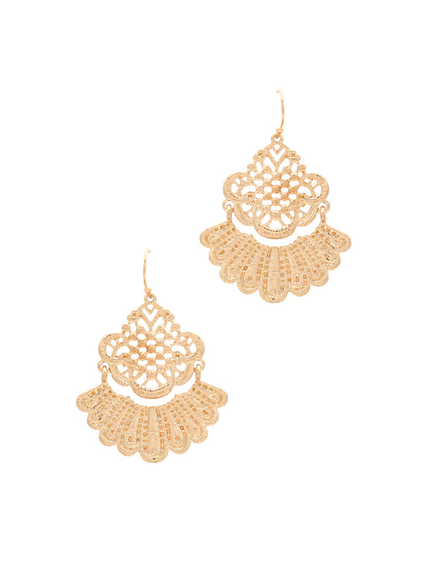 Lace Design Dangles | Gold Fashion Statement Earrings | Light Years