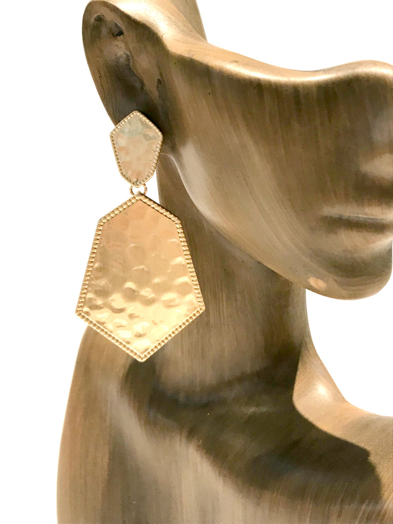 Hammered Statement Post Earrings | Gold Fashion | Light Years Jewelry
