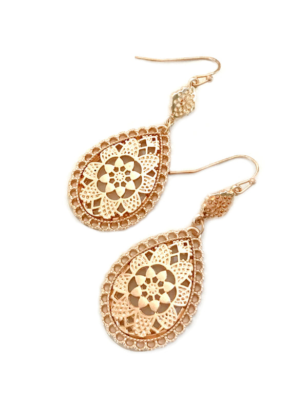Rose Gold Teardrop Dangles