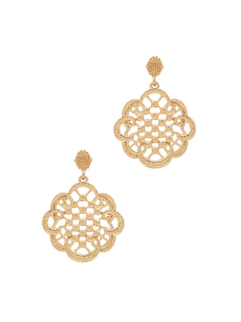 Lace Design Statement Post Earrings | Gold Fashion Dangle | Light Years