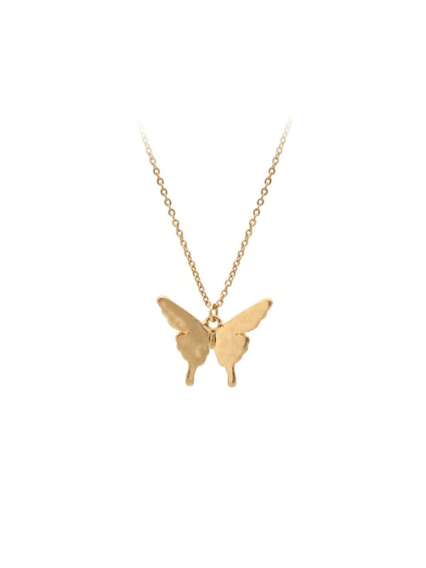 Matte Gold Butterfly Necklace