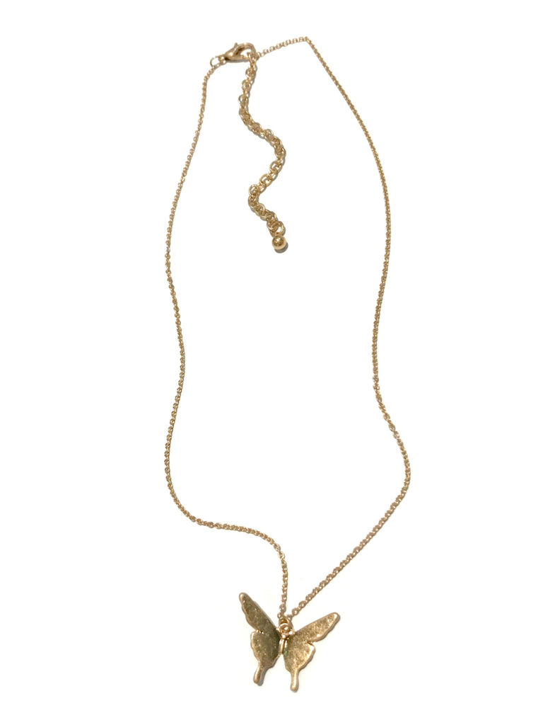 Matte Gold Butterfly Necklace | Fashion Chain | Light Years Jewelry