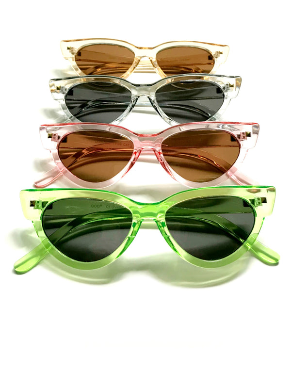 Cat Eye Sunglasses | Green Brown Gray Pink Acrylic Shades | Light Years