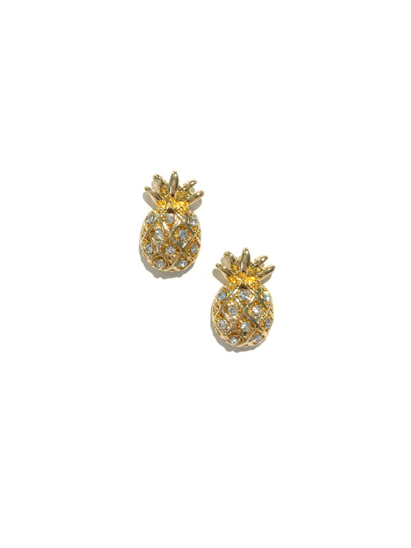 CZ Crystal Pineapple Posts | Gold Fashion Studs Earrings | Light Years