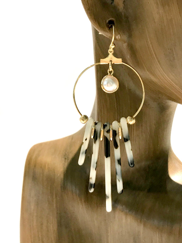 Tortoiseshell Fringe Statement Earrings | Gold Dangles | Light Years
