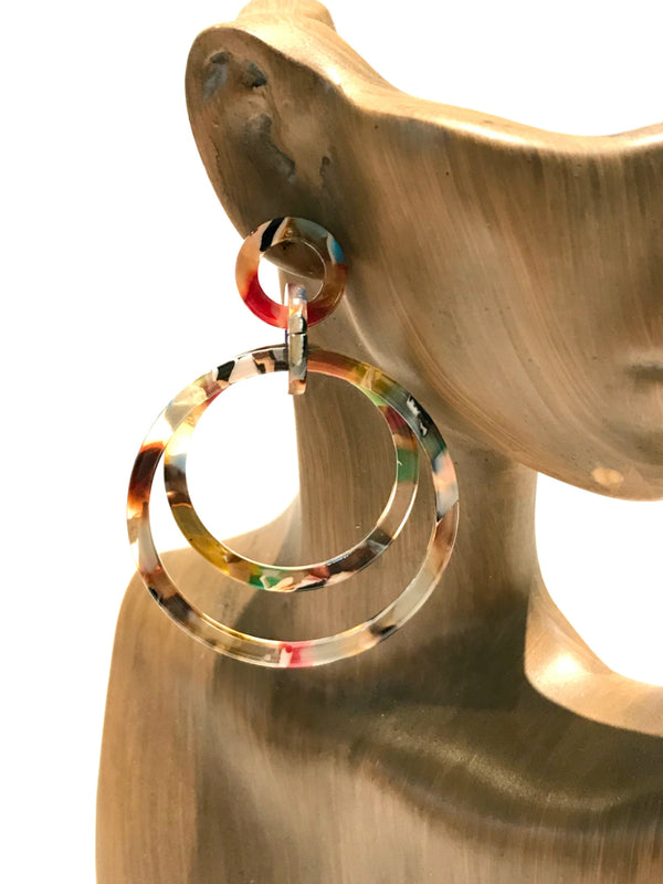Colorful Acrylic Circle Statement Earrings | Fashion Posts | Light Years