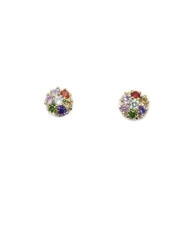 Multicolor CZ Flower Posts | Gold Studs Earrings | Light Years Jewelry