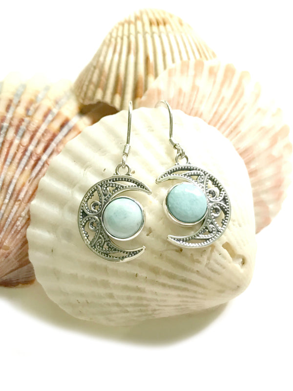 Larimar Crescent Moon Dangles | Sterling Silver Earrings | Light Years