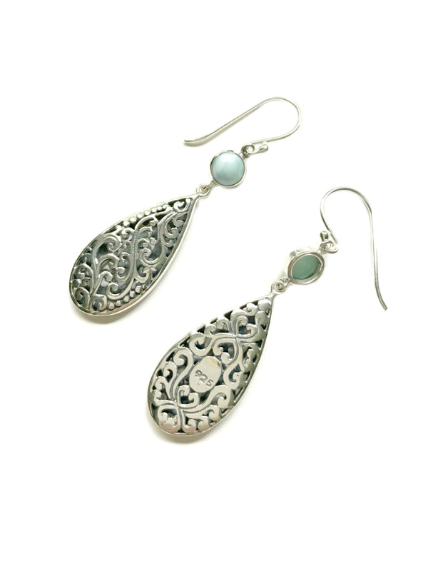 Long Larimar Teardrop Dangles | Sterling Silver Earrings | Light Years