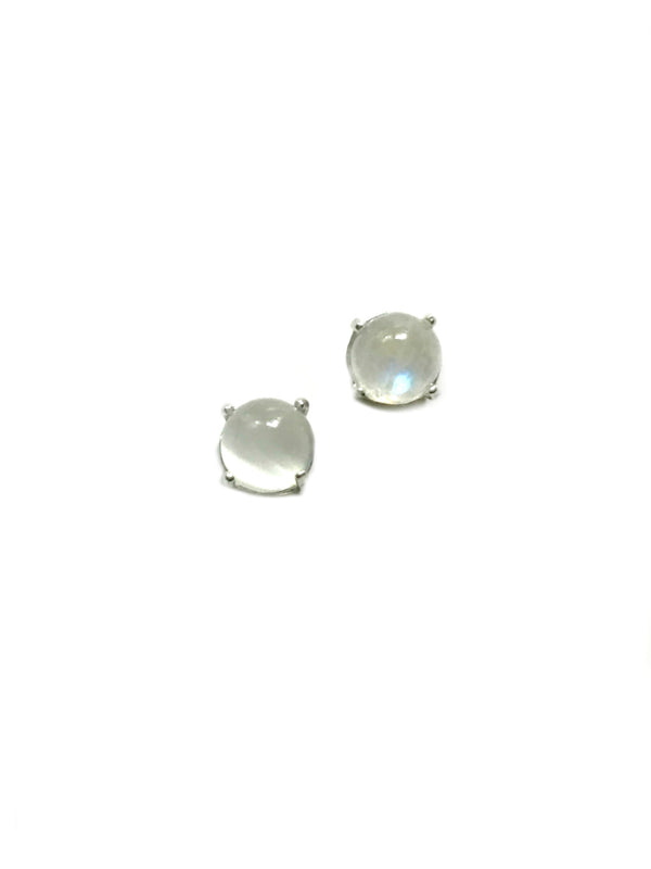 Crown Set Moonstone Posts | Sterling Silver Studs Earrings | Light Years