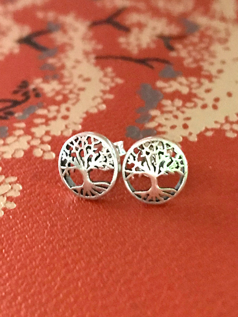 Encircled Tree Posts | Sterling Silver Studs Bali Earrings | Light Years