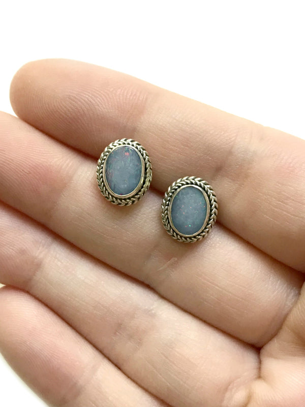 Braided Opal Posts | Sterling Silver Studs Earrings Bali | Light Years