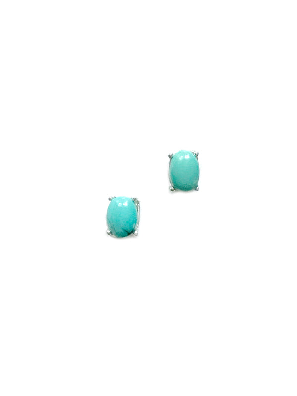 Prong Set Turquoise Studs | Sterling Silver Studs Earrings | Light Years