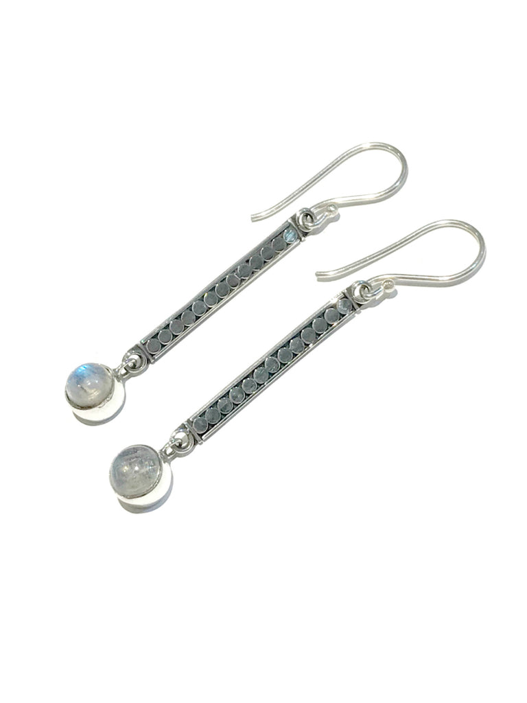 Long Moonstone Dangles | Sterling Silver Earrings | Light Years Jewelry